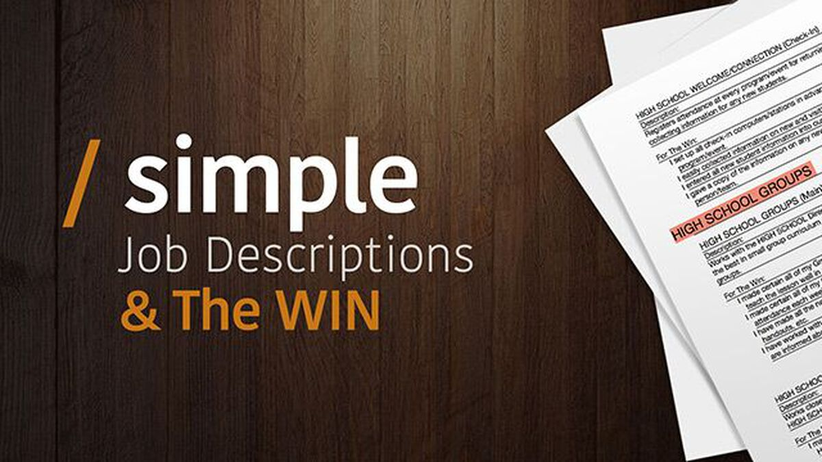 Simple Job Descriptions & The Wins! image number null
