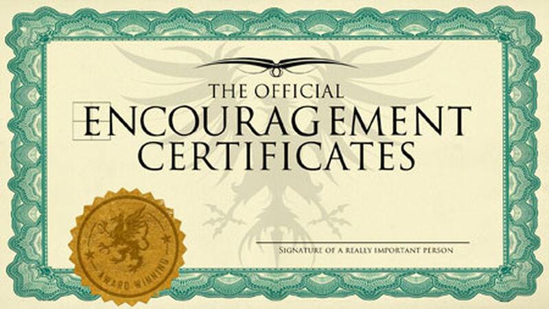 Encouragement Certificates