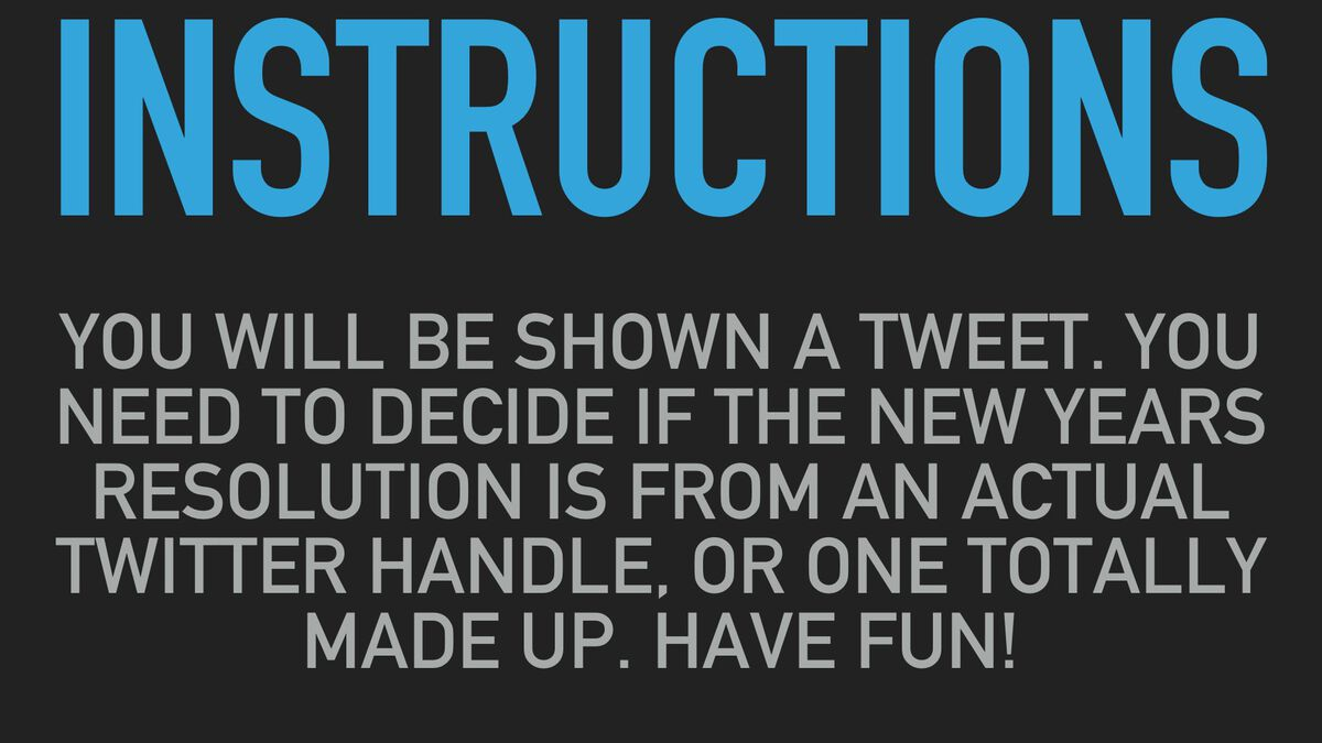 Real Or Fake New Years Resolution Tweets image number null